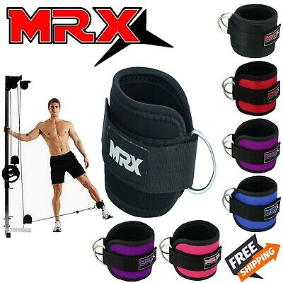 MRX Gym Weight Lifting D Ring Ankle Strap Cable Attachment Thigh Pulley Straps