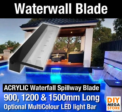 Swimming Pool Watefall Fountain Spillway Water Feature Blade for Wall in Acrylic