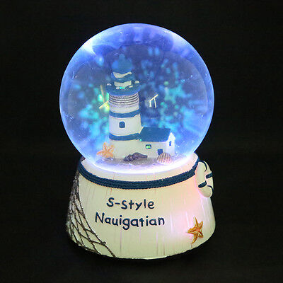 AU LED Light Up Lighthouse Tower Water Ball Snow Globe Music Box Gift Toys Decor