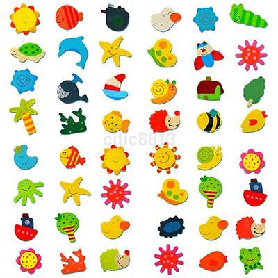 12pcs Colorful Wooden Various Shapes Cartoon Refrigerator Magnets For Children
