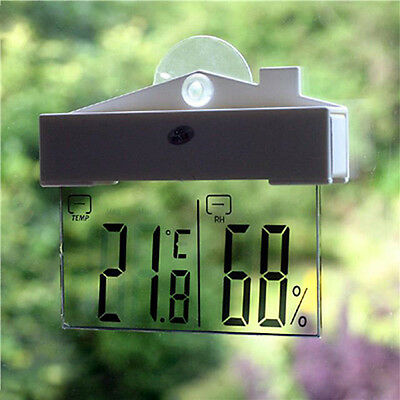 LCD Screen Digital Clock Window Hanging Thermometers Hygrometer Weather Forecast
