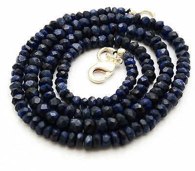 82 Cts.18 inch Super  GENUINE Sapphire Faceted ROUNDEL BEADS NECKLACE 3.5-4.5 MM