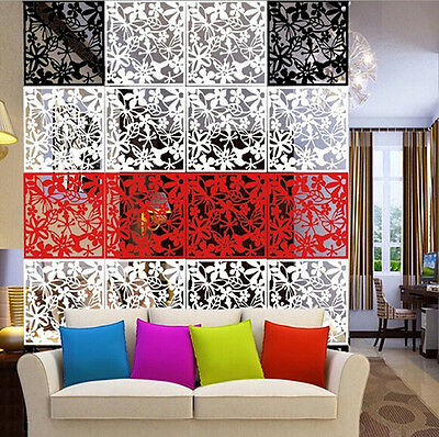 12pcs Butterfly Flower Plastic Screen Panel Hanging Room Divider Wall Home Decor