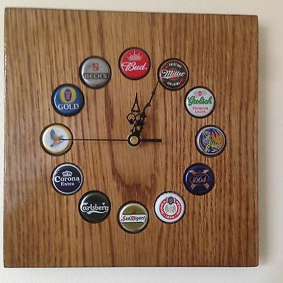 Pub, Bar, Man Cave Beer Bottle Top Clock. English Oak With Mixed Bottle Tops