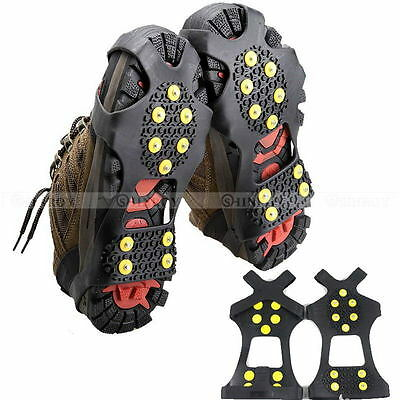 10-Stud Snow Ice Climbing Safety Anti Slip Boots Shoes Spikes Grips Cleats