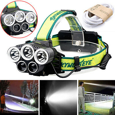 30000LM 5x LED XM-L T6 Headlamp USB Rechargeable Headlight Head Torch Light