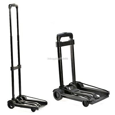 Folding Metal Trolley Platform Cart Platform Truck Luggage & wheel Black New