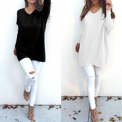 Fashion Women V-Neck Knitted Pullover Tops Loose Long Sleeve Sweater Casual