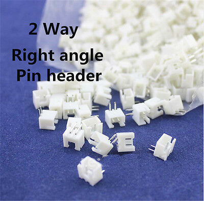 100 pcs of XH 2.5mm 2-Pin JST Right-Angle PCB Socket Male Connector