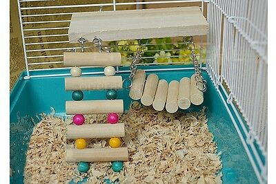 Flexible Wooden Toys Hanging Ladder Bridge Shelf for Rat Mouse Hamster Parrot