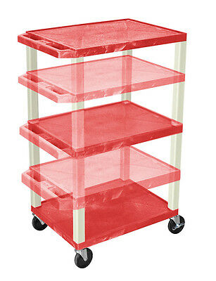 Offex Adjustable Height Tuffy Multi-Purpose Cart Red and Putty Legs