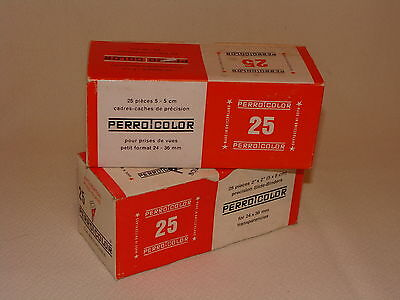 2 BOXES OF 25 PERRO COLOR SLIDE MOUNTS FOR 35mm