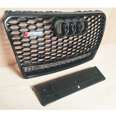 Xb Grille For Audi Rs7 Quattro Style A7 S7 Gloss Black Frame Mesh 2009 -2014 Uk
