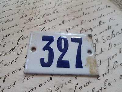 "Antique French Enamel Metal Door House -Gate Number Sign white& blue ""327"""