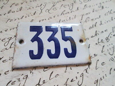 "Antique French Enamel Metal Door House -Gate Number Sign white& blue ""335"""