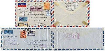 PAKISTAN AIRMAIL REGISTERED SHILOLEH HOSPITAL to HOLLAND + SADDAR EMBASSY to USA