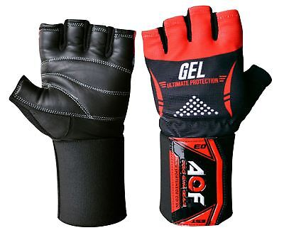 AQF Pro Gel Weight Lifting Body Building Gloves Gym Straps Bar Leather Training