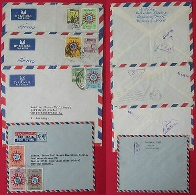 IRAQ to germany c 1963 4 covers censor stamps