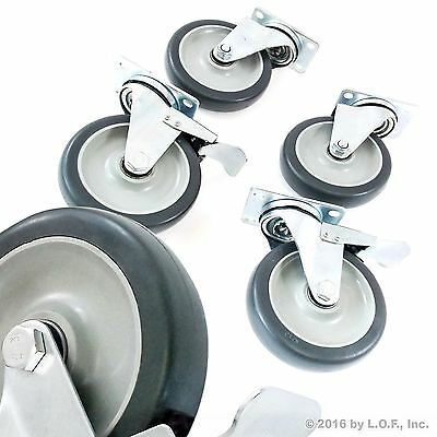 "4 Swivel Plate Casters Set with 5"" Polyurethane Wheels Over 1300 lbs Capacity"