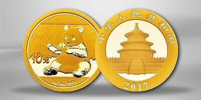 Goldmünze China 1g Gold Panda 2017 999er Gold