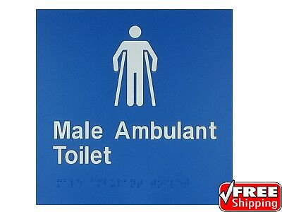 Braille Sign Male Ambulant Toilet As1428 Tactile Disabled Restroom