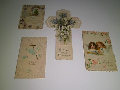Antique Victorian cards Easter/Religious FOUR included Cross/fold outs