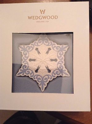 Wedgewood Pierced Snowflake White background, Blue decoration. New in box.