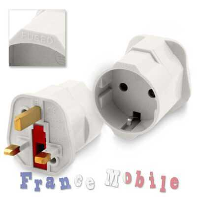 Adaptateur Secteur France EU Europe Schuko vers Anglaise UK Voyage Adapter Plug