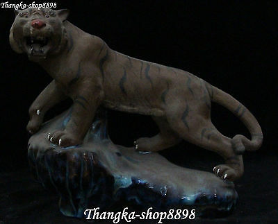 "13"" China Fengshui Tang Sancai Porcelain Zodiac Year Tiger Tigers Animal Statue"
