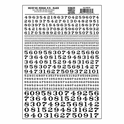 Numbers Dry Transfer Sheet, Roman RR Black Dt - Woodland Scenics MG707