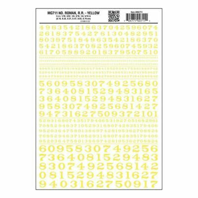 Numbers Dry Transfer Sheet, Roman RR Yellow Dt - Woodland Scenics MG711