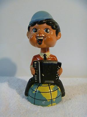 VTG 1960's PIETRO DEIRO BEATLES ACCORDION PLAYER ON WORLD BOBBLEHEAD NODDER BANK