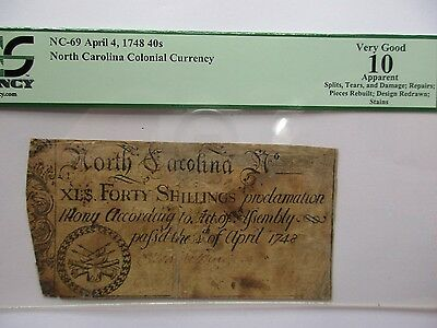 Colonial Currency N. Carolina NC-69 ,April 4  1748, 40s, PCGS VG-10 apparent