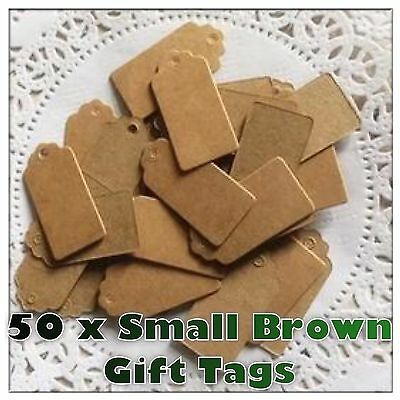 50 Pcs Kraft Paper Gift Tags Scallop Label Luggage Wedding Blank BROWN