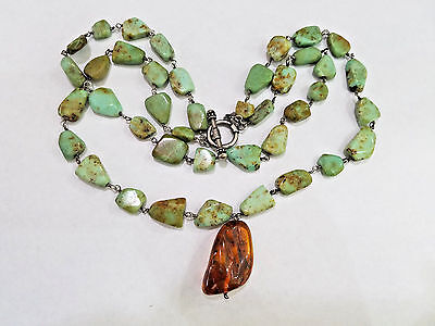 ART DECO Sterling Silver & Jade Necklace w/ Amber & Mosquitoes Pendant