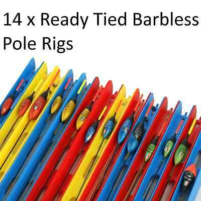 14 x Pole Float Fishing Rigs Assorted Killer Carp Coarse Tackle Barbless Hook