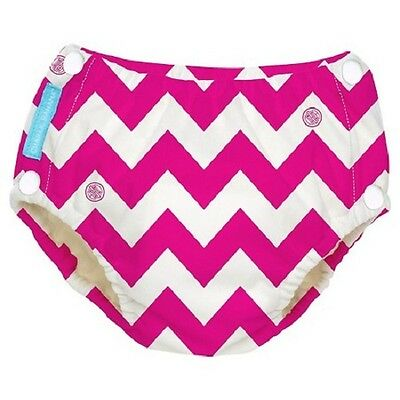 Charlie Banana Reusable Easy Snaps Swim Diaper - Pink Chevron - X Large - New