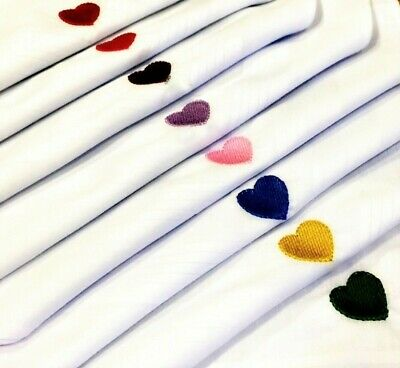 100% Cotton Embroidered Handkerchief Heart Any Colour Hankies Men Ladies
