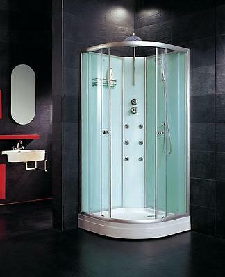 900mm/800mm/700mm Quad Corner Shower Cabin with mixer jets waste walls tray base