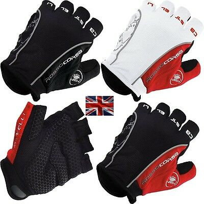 Castelli Rosso Corsa Classic HALF FINGER Gloves Cycling Bicycle Bike gel gloves
