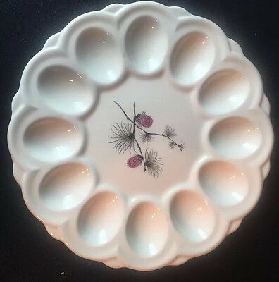 Vintage Canonsburg WILD CLOVER Deviled Egg Platter Pink Pinecone Mid Century