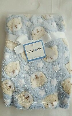 CUTIE PIE Bear Heads Blanket Infant Baby NEW Lovey Soft Toddler Blue