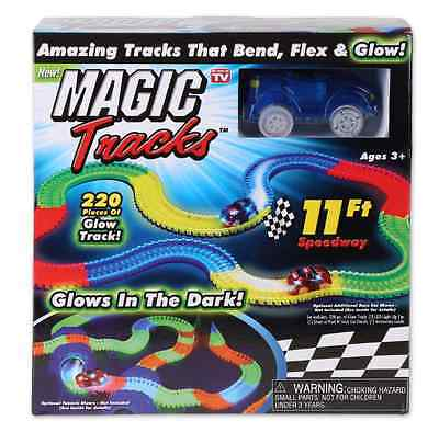Glow in the Dark Bending Speedway Race Track Set 220 Pieces LED Car
