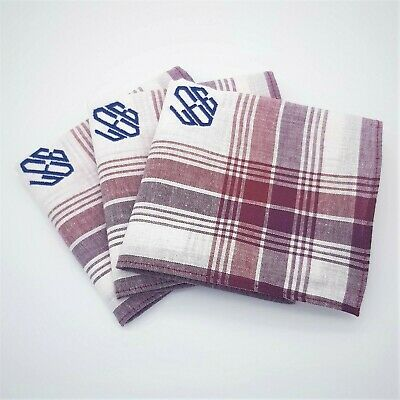 Personalised Handkerchief 100% Cotton Embroidered Monogram Initials Hankies Mens