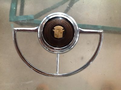 1941 CADILLAC STEERING WHEEL HORN BUTTON and CHROME HORN RING and CHROME BEZEL