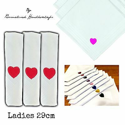 29Cm 100% Cotton Embroidered Handkerchief Heart Any Colour Hankies Ladies Size
