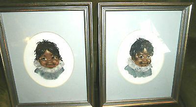 Pair petit point Inuit children on silk mesh framed matted 8 by 10 charming