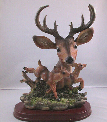 Ten Point Buck Bust With Two Fawns - Deer Figurine On Wood Base - Very Nice!