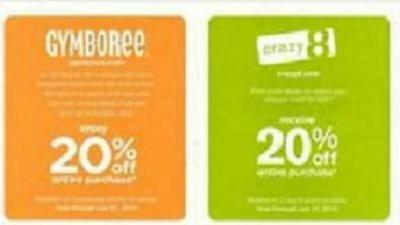 Gymboree Crazy 8 20% off online coupon code Exp January 3, 2017 FAST EMAIL REPLY