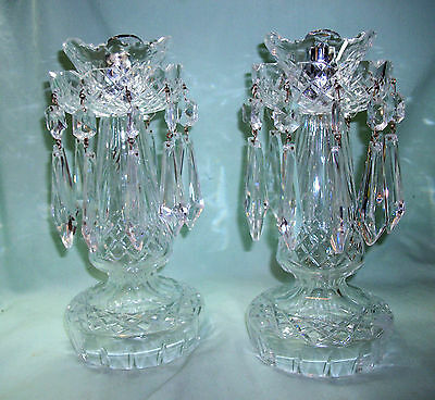 """Pair of WATERFORD C1 10"""" CANDLESTICKS Candle Holders Candelabra Prisms"""